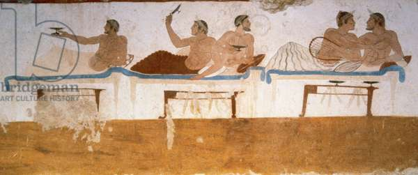 Greek art. Tomb of the Diver. 5th century BC. Symposium, north wall. National Museum of Paestum. Italy.