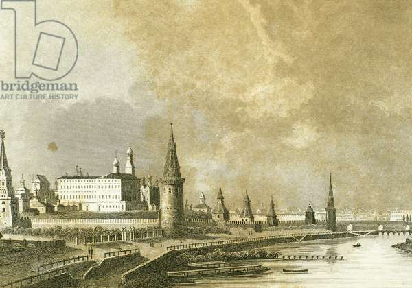 Rusia. Moscow. The Kremlin next to Moskva river (engraving)