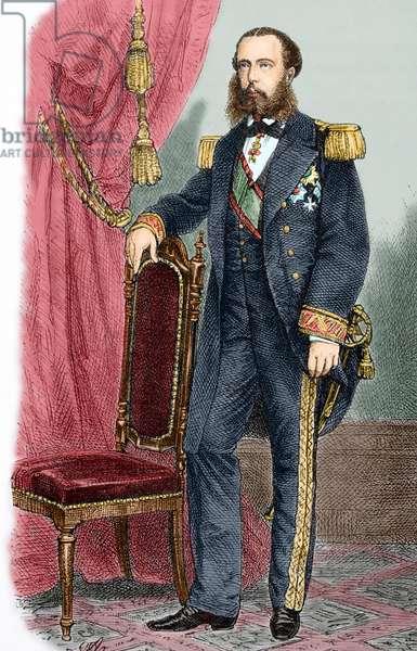 Maximilian I of Mexico (1832-1867). Portrait. Engraving. Colored.