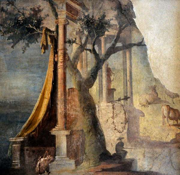 Landscape with ceremony in honor of Osiris, The Ekklesiasterion, Temple of Isis, Pompeii, Italy