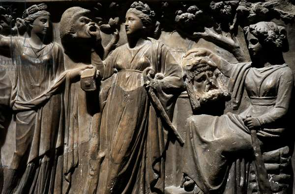 Relief of a roman sarcophagus depicting The NIne Muses. Middle 2nd century AD, detail (marble)