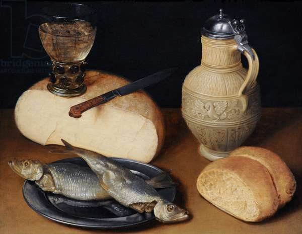 Still Life with Cheese, Fish and Jug, ca.1630-1640, by Gottfried von Wedig (1583-1641).