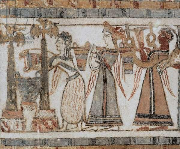 The Hagia Triada Sarcophagus, painted with scenes from Cretan life. C. 1600 BC-1380 BC (fresco)