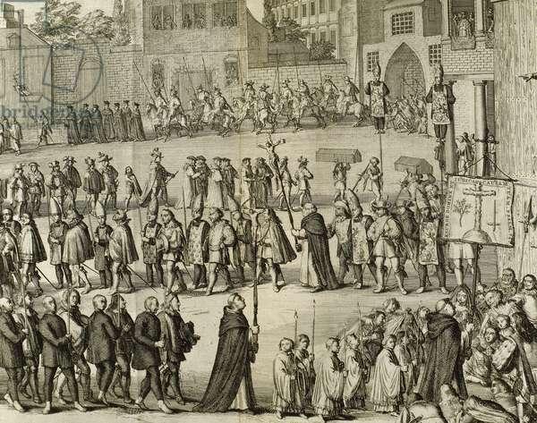 Spanish Inquisition. Auto-da-fe (engraving)