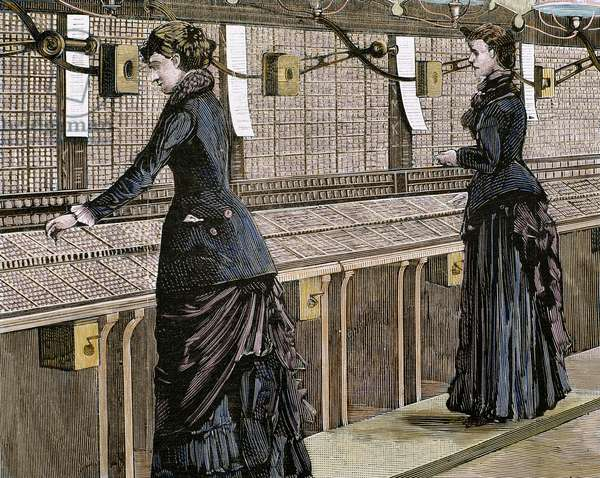Telephone central office: switching room and telephonists, Milan, Italy (engraving) (later colouration)
