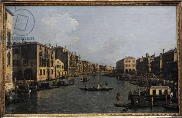 Grand Canal Looking South-East from the Campo Santa Sophia to the Rialto Bridge, c. 1756, by Canaletto (1697-1768).
