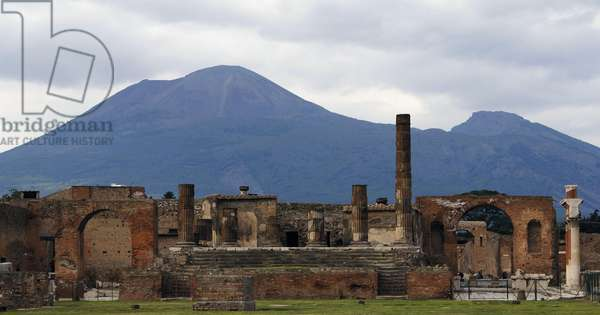 Ruins of forum and Vesuvian volcano, Pompeii, Naples, Campania, Italy