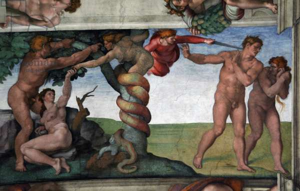 The Original Sin and The Expulsion from Paradise by Michelangelo. 1508-1512. Sistine Chapel.