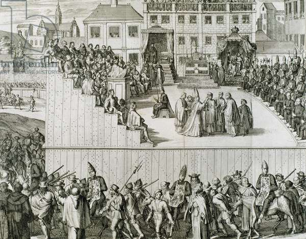 Way out of the captives condemned by the Inquisition to the auto-da-fe. Spain (engraving)