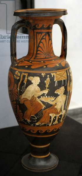 Neck-amphora with red figures decorated with a female figure sitting on a stool holding a plate, from Cumae, Painter of New York GR 1000, c.350-325 BC