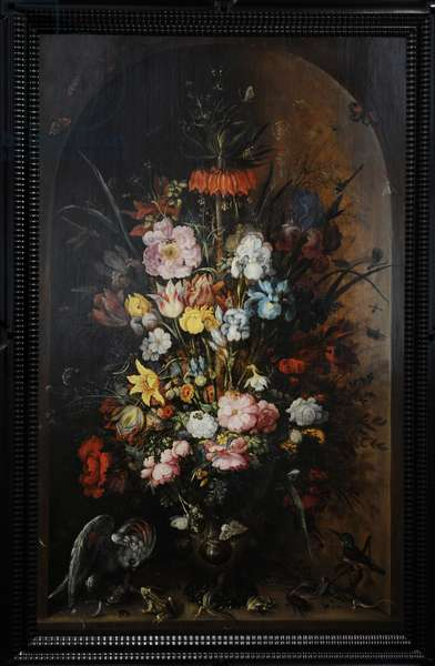 Large Flower Still Life with Crown Imperial, 1624, by Roelant Saverij (1576-1639). Netherlands