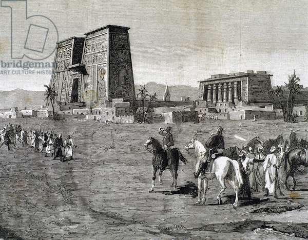 Anglo-Egyptian War (1882). Emissaries of Arabi Pasha recruiting soldiers, 1882 (engraving)