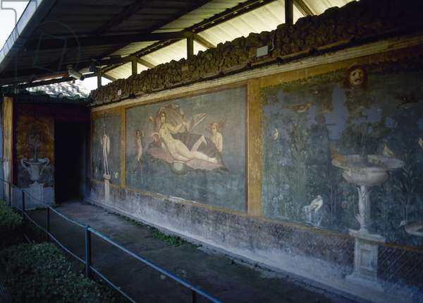 Italy, Pompeii, House of Venus Marina, Mars standing on a garden and Venus in the shell with cupid and dolphin, Fresco, 1st century AD