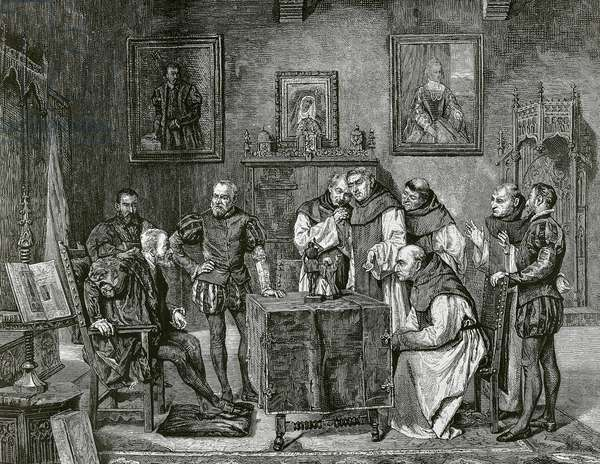 Charles I of Spain (1500-1558) at Yuste (engraving)