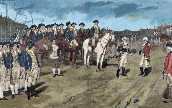 American Revolutionary War (1775-1783). Siege of Yorktown. Surrender of British Major General Lord Charles Cornwallis,(October 19, 1781) (coloured engraving)