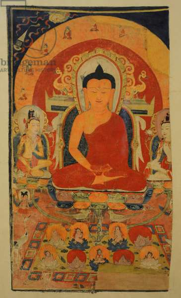 The Pure Land of Buddha Amitabha. Tangut State of the Western Xia (982-1227). Khara-Khoto. 12th century. Tangka; colours on cotton.
