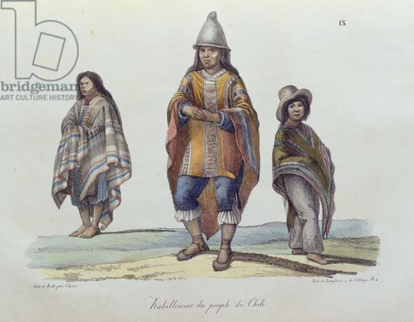 Costume of the people of Chile, from 'Voyage Pittoresque Autour du Monde', published 1822 (colour litho)