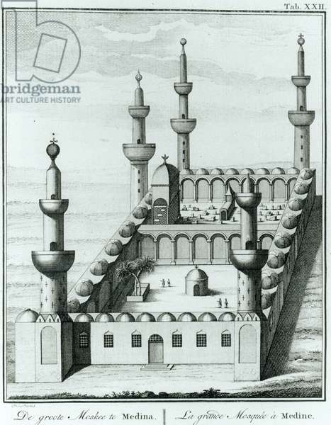 View of the Great Mosque at Medina before the desecration of the tombs by the Wahhabi sect, from 'Description de l'Arabie' by Carsten Niebuhr (1733-1815) published 1774 (engraving)