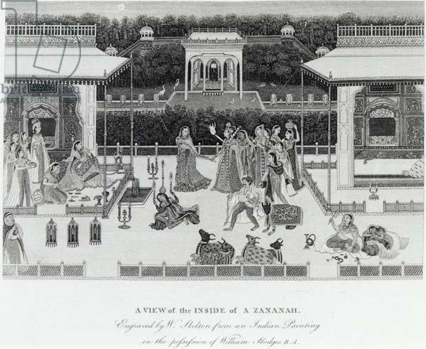 View of the inside of a Zananah, engraved by William Skelton (1763-1848) (engraving) (b/w photo)