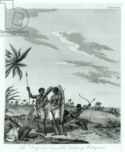 Inhabitants of Madagascar, from volume 2 of 'Memoirs and Travels' by Count Benyowsky, published 1790 (engraving) (b/w photo)