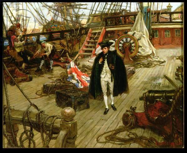 Nelson's First Day in the Navy (oil on canvas)