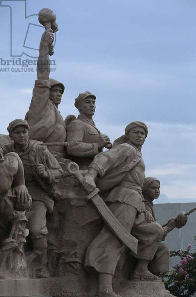 Fighters of the Chinese Revolution. Low relief in front of Mao Zedong's Mausolee. Tiananmen Square, Pekin (Beijing), China.