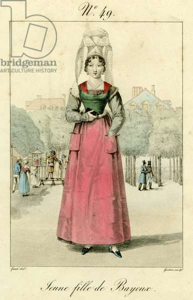 Young girl of Bayeux (coloured engraving)