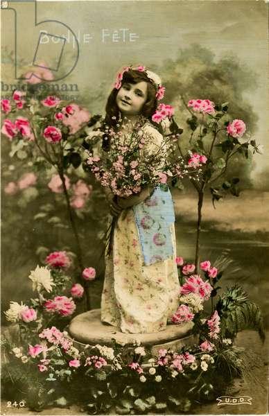 'Bonne fete' card, 1907 (colour tinted photo)