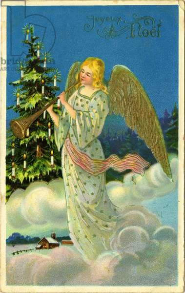 Angel with a trumpet, French Christmas Card (colour litho)