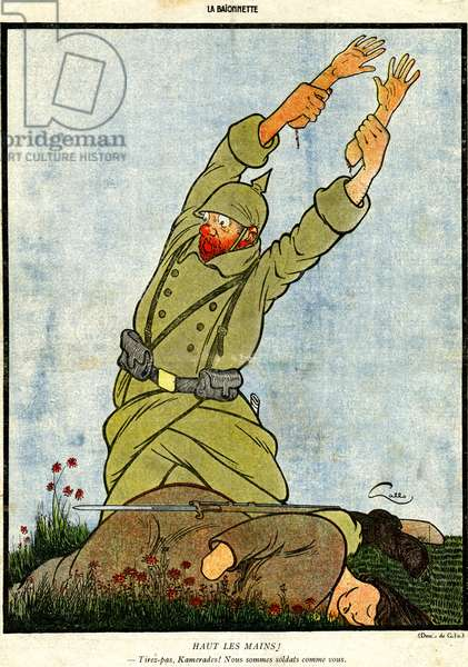 Raise your hands!, from Kamerad!, a special edition of 'La Baionnette', no.18, 4 November 1915 (colour litho)