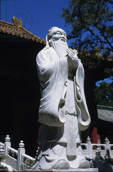 Statue of Confucius (or Kong Fu Zi or KongZi) (551-479 BC) in Confucius Temple, College Imperial, Pekin (Beijing), China.