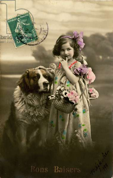 'Kisses' postcard, 1911 (colour tinted photo)