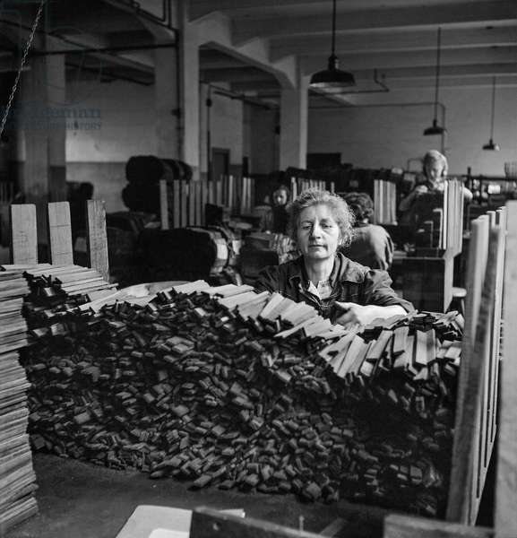 Factory worker sorting material for pencils at the Faber pencil factory, Germany, 1948-49 (b/w photo)