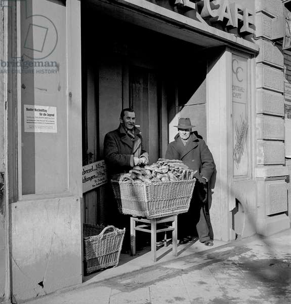 Pretzel Vendor, 1946 (b/w photo)