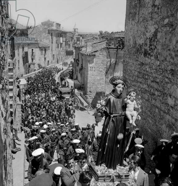 St. Anthony procession going through Bonefro, Italy, 1947-48 (b/w photo)