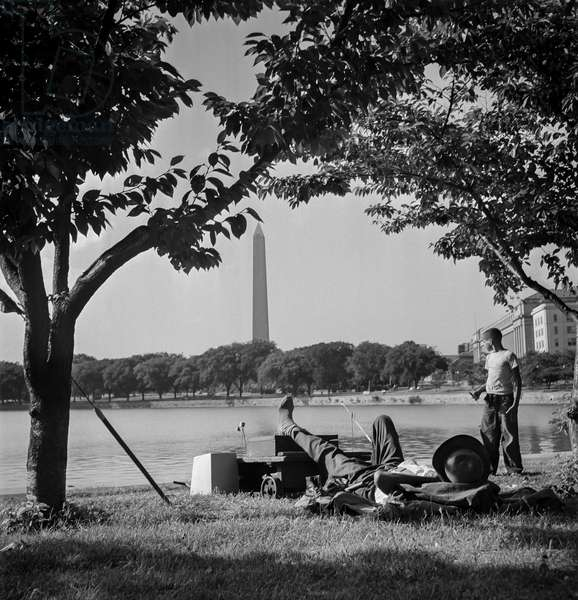 Fishing in Tidal Basin, Washington DC, 1948 (b/w photo)