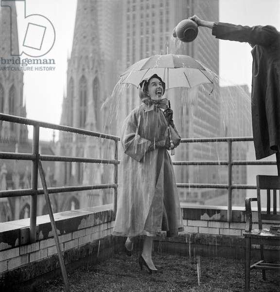 Umbrella on Roof, 1953 (b/w photo)