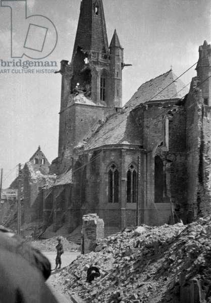 Battle of St. Lo Church, 1944 (b/w photo)