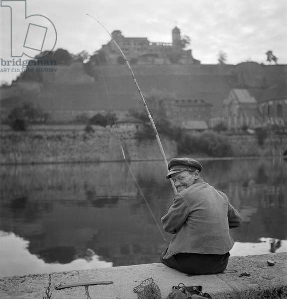 Fishing On The Main, Wurzburg, 1948-49 (b/w photo)