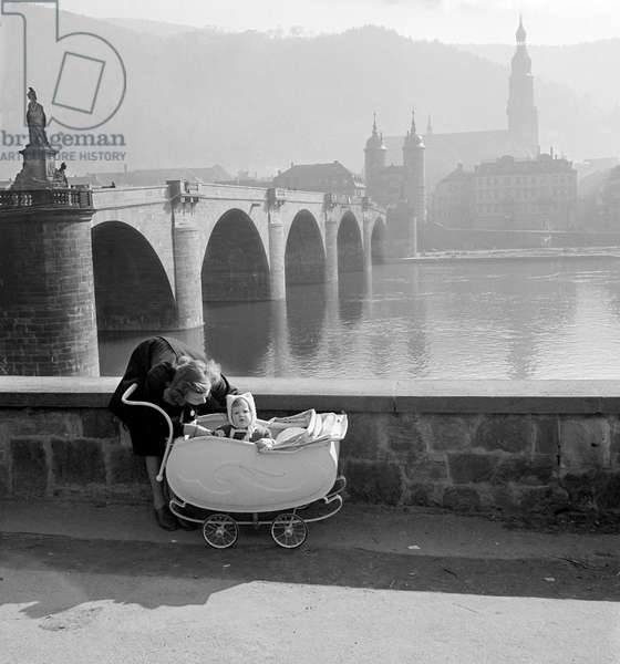 Morning Light and Baby Carriage, Heidelberg, 1947 (b/w photo)