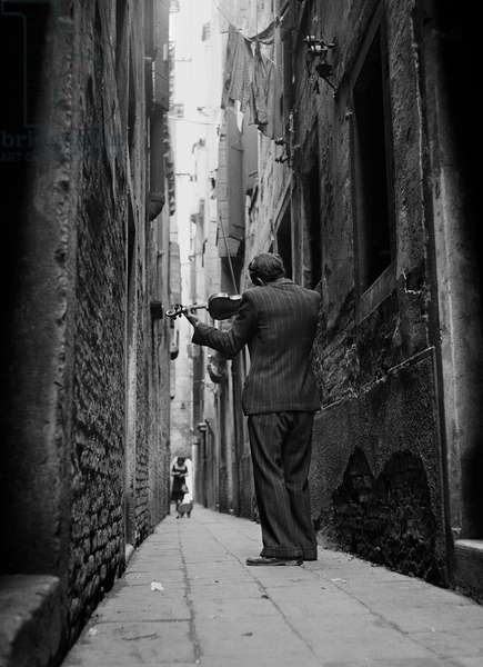 The Violinist (b/w photo)