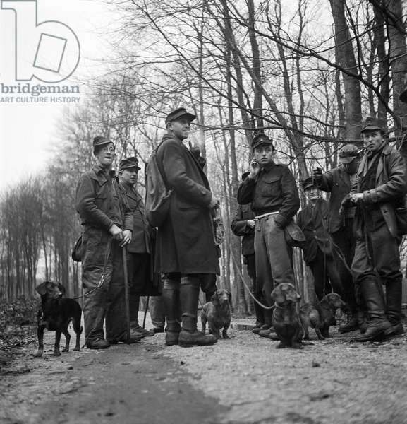Hunting with Germans, 1947 (b/w photo)