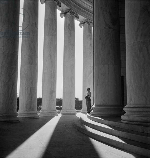 Long shadows at the  Jefferson Memorial, Washington DC, 1948 (b/w photo)