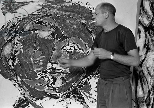 Jackson Pollock Painting, 1953 (b/w photo)