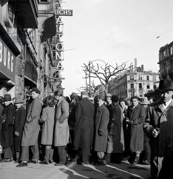 In Line for Food, Frankfurt, Germany, 1946 (b/w photo)