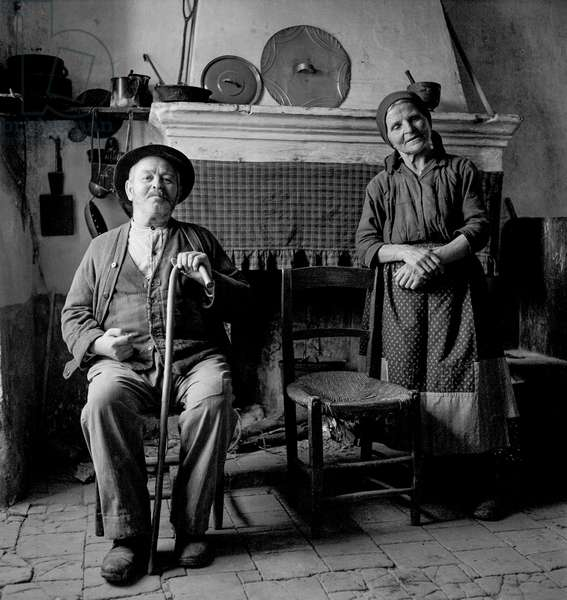 Old Positano Couple, 1947 (b/w photo)