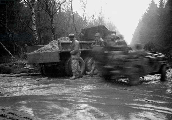 Truck in Mud and Rain, 1945 (b/w photo)