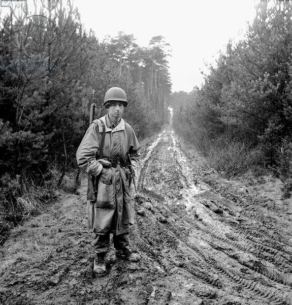 War Games Guard, Hurtgen Forest, Germany, 1948-49 (b/w photo)