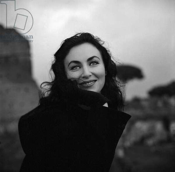 Israeli Model Paula Morgan, Roman Forum, 1954 (b/w photo)