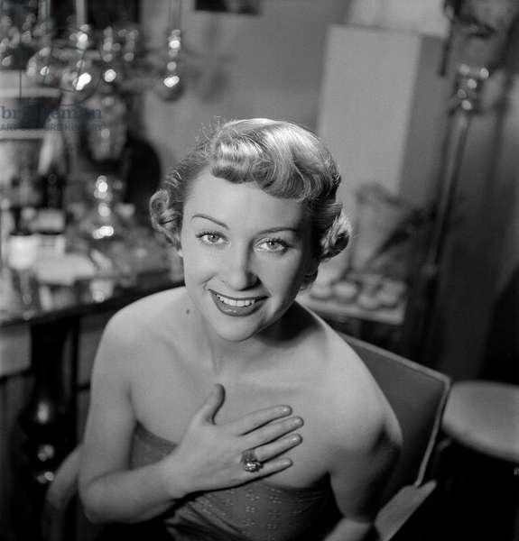 Martine Carol at Antoine de Paris, 1949 (b/w photo)